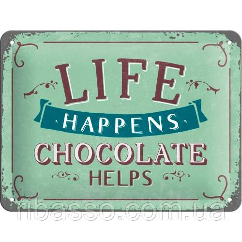 "Nostalgic Art Табличка ""Life Happens - Chocolate helps""  (26191)"