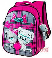 Рюкзак школьный для девочек Winner 8001 розово-серый