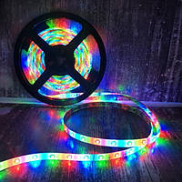Светодиодная RGB LED лента с пультом Разноцветная 5 метров дли подсветки дома телевизора окна (Живые фото)