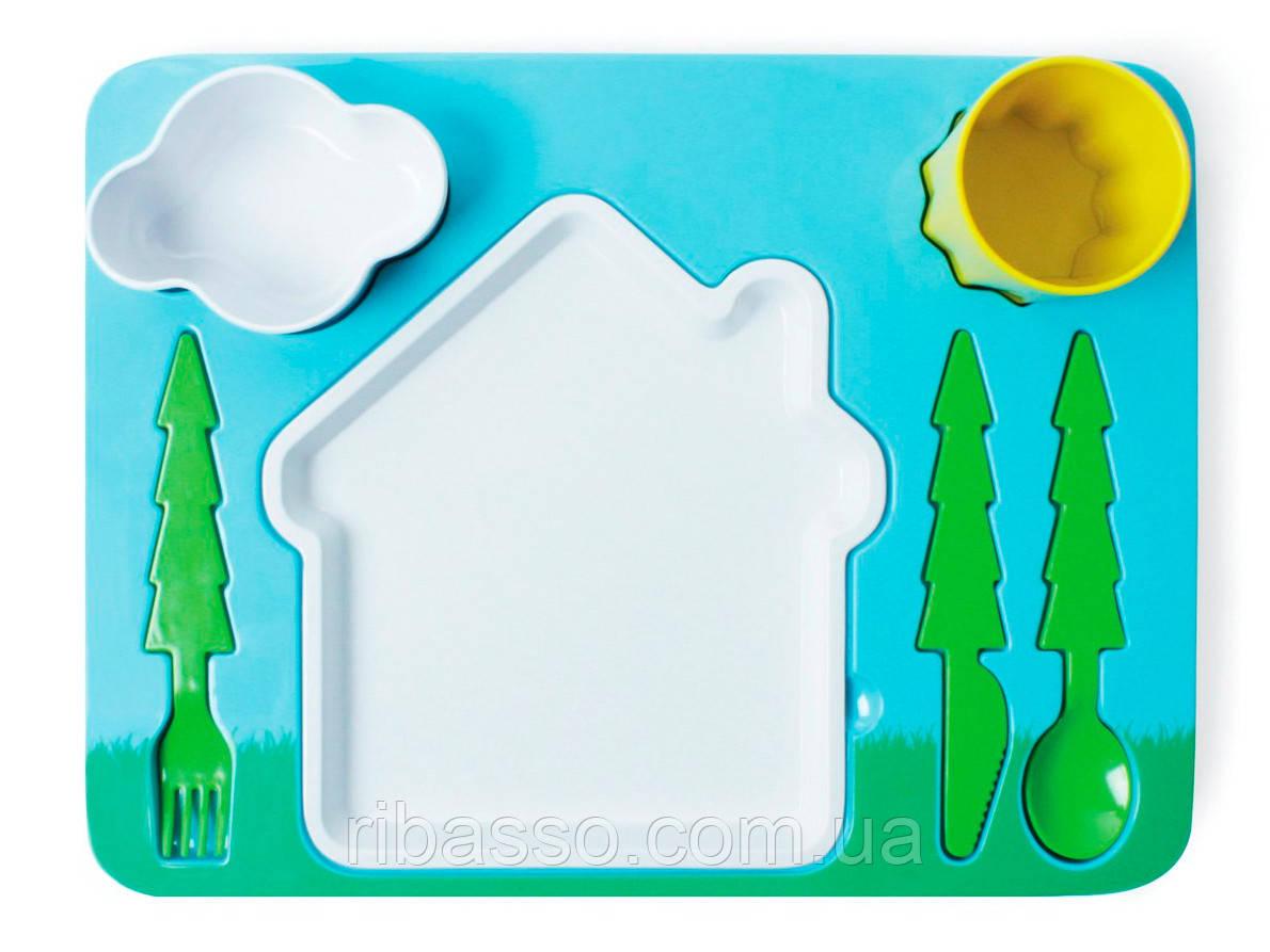 Набор детской посуды для обеда, зеленый
