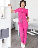 Комбинезон для мастера розовый с серой строчкой р 42-54