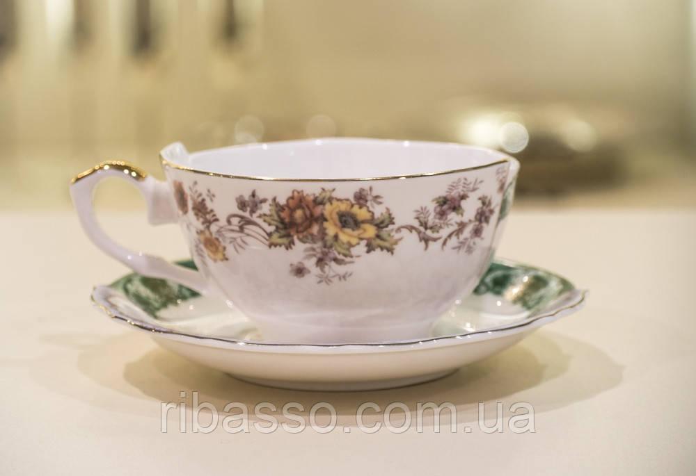 """Кофейная чашка с блюдцем """"Hybpid"""" фарфоровая"""