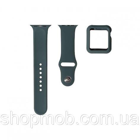 Ремешок для Apple Watch Band Silicone One-Piece + Protect Case 44mm Цвет Тёмно-Зелёный, фото 2