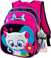 Рюкзак школьный для девочек Winner 8009 розово-серый