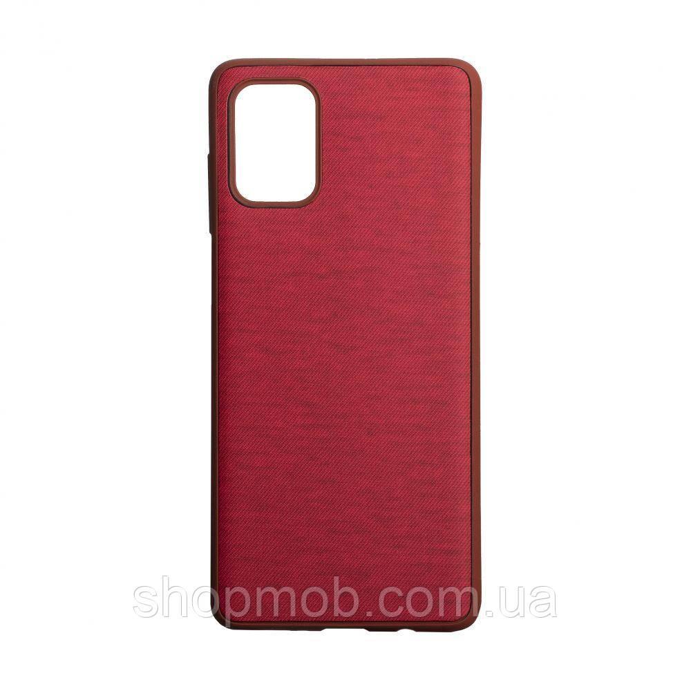 Чехол накладка для смартфонов (с поверхностью под джинс) Jeans for Samsung A71 Цвет Красный