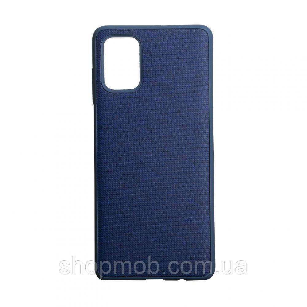 Чехол накладка для смартфонов (с поверхностью под джинс) Jeans for Samsung A71 Цвет Синий