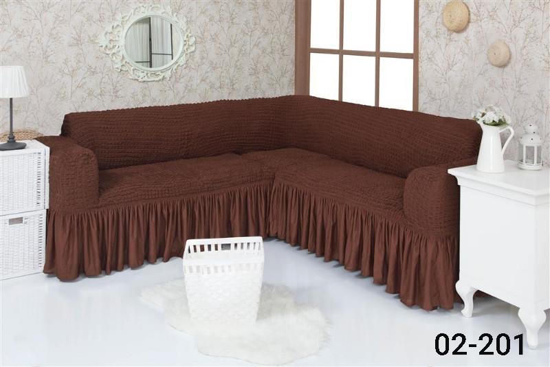 Чехол на угловой диван  с оборкой, натяжной, жатка-креш, универсальный, Concordia Коричневый