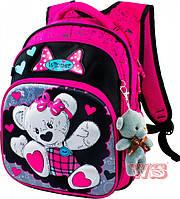 Рюкзак школьный для девочек Winner 8012 черно-розовый