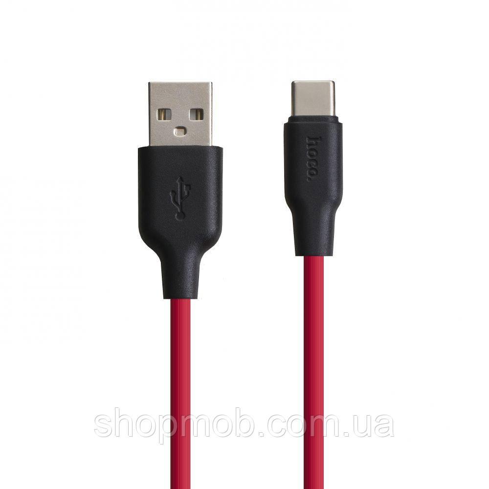USB кабель для зарядки Hoco X21 Silicone Type-C Цвет Чёрно-Красный