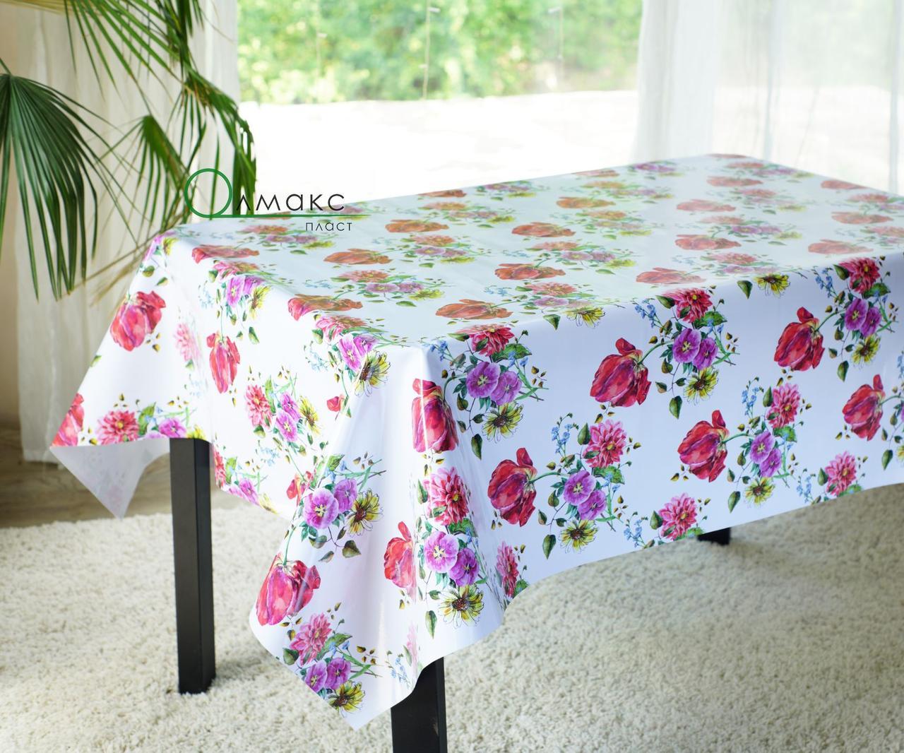 Клеенка на стол ламинированная на тканевой основе с цветочным рисунком
