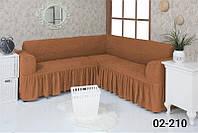Чехол на угловой диван  с оборкой, натяжной, жатка-креш, универсальный, Concordia Горчичный