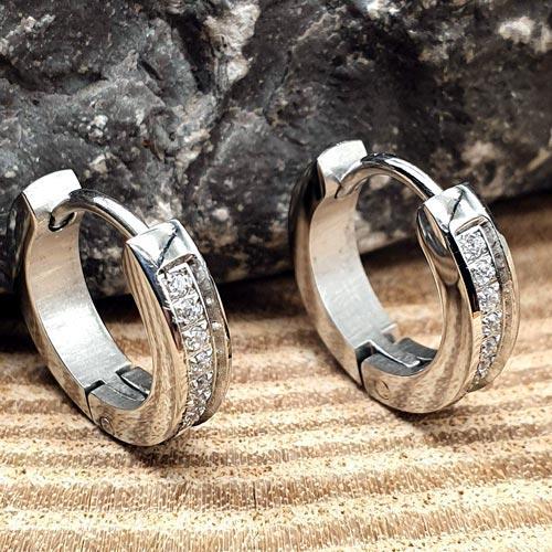 Серьги круглые кольца с кристаллами циркония 12 мм 176130