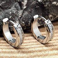 Серьги круглые кольца с кристаллами циркония 12 мм 176130, фото 1