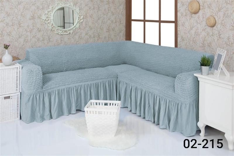 Чехол на угловой диван  с оборкой, натяжной, жатка-креш, универсальный, Concordia Голубой