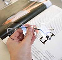 Іміджеві овальні окуляри унісекс у срібній оправі