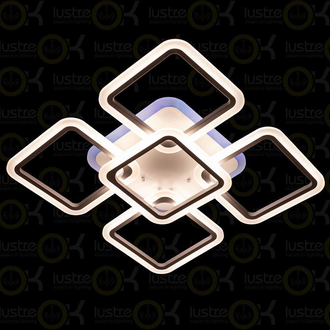 Люстра светодиодная квадратная Люстра с пультом LED 3color dimmer А8060/4+1WH LED 3color di