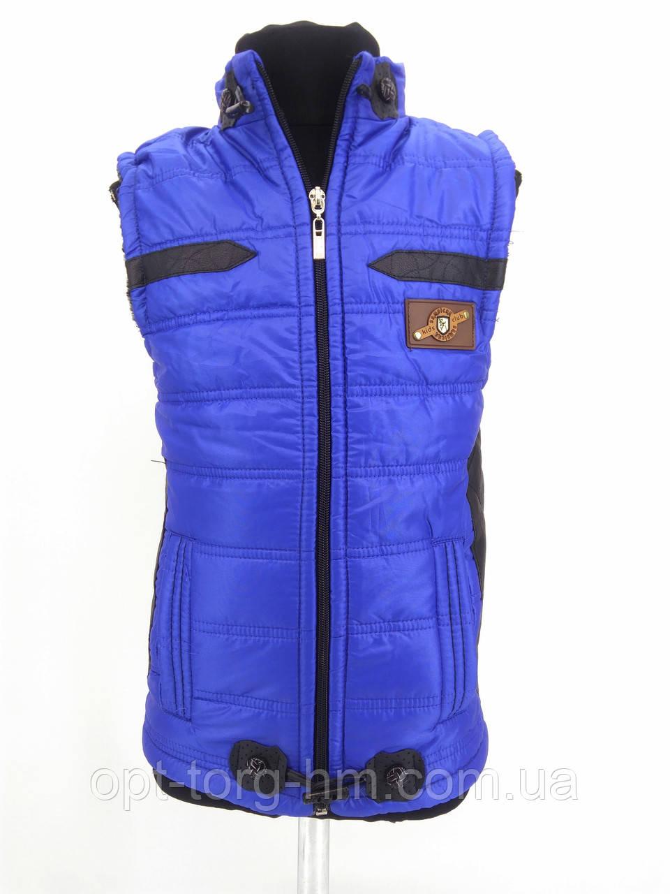 Детская жилетка для мальчика с меховой подкладкой (синяя)