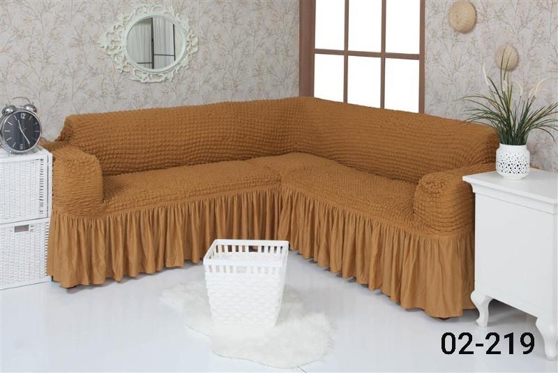 Чехол на угловой диван  с оборкой, натяжной, жатка-креш, универсальный, Concordia Табачный