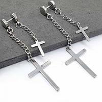 Серьги-закрутки из медицинской стали с двумя крестами-подвесками 176132