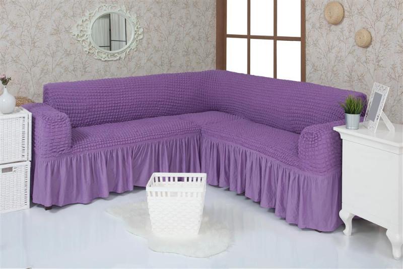 Чехол на угловой диван  с оборкой, натяжной, жатка-креш, универсальный, Concordia Сиреневый