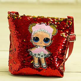 Детская сумочка ЛОЛ с пайетками - №19-41-3 - Красный Flower Child