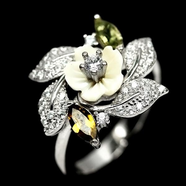 Серебряное кольцо с перламутром и турмалином. 2407КЦП