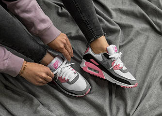 Кроссовки Nike Air Max 90 Gray Pink Black женские 39 (24,5 см)