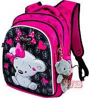 Рюкзак школьный для девочек Winner 8020 черно-розовый