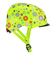 Дитячий захисний шолом Globber Квіти зелений з ліхтариком 48-53см (XS/S) 507-106
