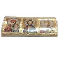 Икона Троица  на  скотче  малая  выпуклая золото