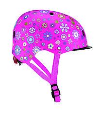 Защитный детский шлем Globber Цветы розовый с фонариком 48-53см (XS/S) 507-110