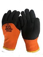 Перчатки полиэстер + заливка пенная  (1пара ) Оранж/коричневые(флисовые внутри) 300#
