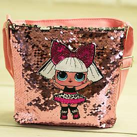 Детская сумочка ЛОЛ с пайетками - №19-41-3 - Розовый