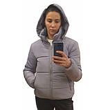 Модна жіноча куртка р. з 42 по 48 модель вик.сірий, фото 4