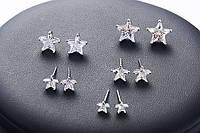 """Серьги  """"Star"""", из медицинского серебра (10 мм)"""