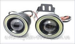 Противотуманные LED Фары Линза с ДХО D=64мм 12V/10W 7000K/1200lm  (S 64mm)  (2шт) 2511