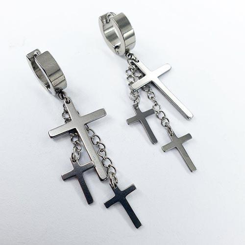 Стальные серьги с подвесками на цепочке Три креста 176136