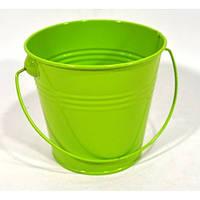 Ведро декор.оцинковка  среднее   (h 6см) зеленое