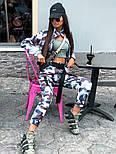 Женский прогулочный костюм камуфляжный: бомбер на молнии и брюки-карго (2 цвета), фото 9