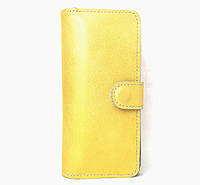 Кожаный женский кошелек в золотом цвета ручной работы Tsar.store с ручным швом