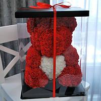 Мишка из роз 40см красный в подарочной упаковке с сердечком подарок девушке любимой день рожденья св.валентина