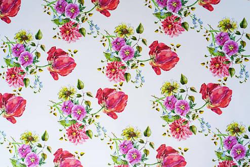 Клеенка на стол ламинированная на тканевой основе с цветочным рисунком, фото 2