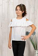 Блузка белая с воланом на девочку рост 122-140 от производителя .