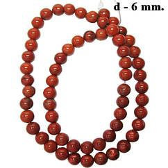 Намистини Червона Яшма, Діаметр 6 мм, Отвір 1 мм, на Нитках, близько 39 см/нитка, №201, Рукоділля