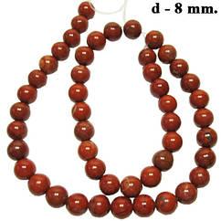 Намистини Червона Яшма, Діаметр 8 мм, Отвір 1 мм, на Нитках, близько 39 см/нитка, №203, Рукоділля