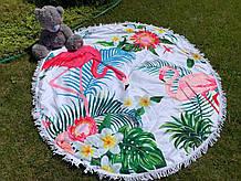 Пляжне покривало | Пляжний плед | Пляжний килимок | Пляжне кругле рушник. Фламінго