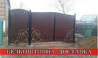 Розпашні ковані ворота з хвірткою та профнастилом