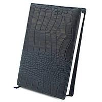 Кожаная обложка для ежедневника / блокнота ф. А5 Lika (синий крокодил)