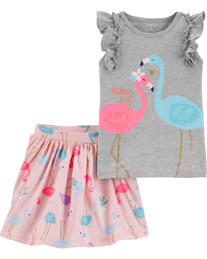 Симпатичный детский комплект из 2-х вещей Фламинго Картерс для девочки