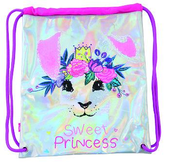 Детская сумка мешок для обуви на шнурках из кожзама YES DB-11 Honey Bunny Серая (556381)(5056137133420)
